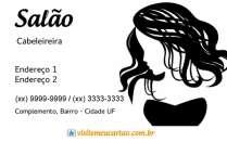 cartão de visita Cabeleireiros ilustrado: mulher e branco