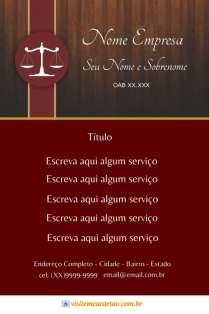 modelo de cartão de visita Advogado luxo: balança e madeira com vermelho