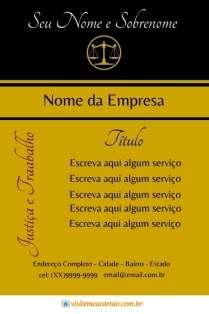modelo de cartão de visita Advogado luxo: balança e preto com dourado