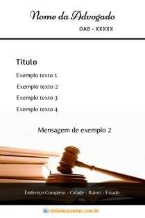 modelo de cartão de visita Advogado martelo livros e marrom