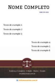 modelo de cartão de visita Advogado elegante: balança e madeira com vermelho