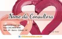 cartão de visita Mary Kay criativo: coração e rosa com lilás