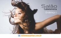 cartão de visita Cabeleireiros criativo: mulher cabelo-liso e fundo cinza