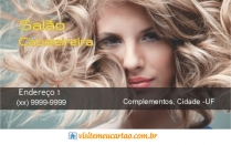 cartão de visita Cabeleireiros moderno: mulher loira cabelo-cacheado e amarelo