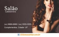 cartão de visita Cabelereiros moderno: mulher cabelo-cacheado e marrom
