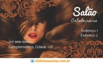 cartão de visita Cabeleireiros criativo: mulher cabelo-liso e marrom