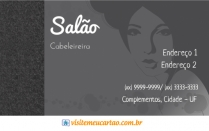 cartão de visita Cabeleireiros ilustrado: mulher e cinza
