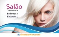 cartão de visita Cabeleireiros moderno: mulher loira cabelo-liso e branco com azul