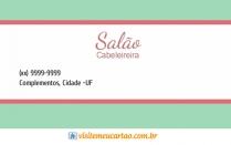 cartão de visita Cabelereiros tradicional: verde com rosa