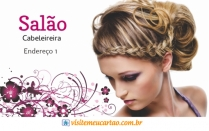 cartão de visita Cabelereiros criativo: mulher loira cabelo-liso arabesco flor e branco com lilás